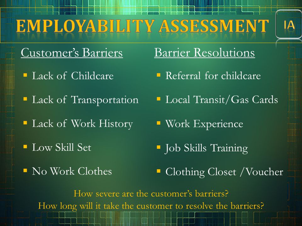 Customer's Barriers  Lack of Childcare  Lack of Transportation  Lack of Work History  Low Skill Set  No Work Clothes Barrier Resolutions  Referr