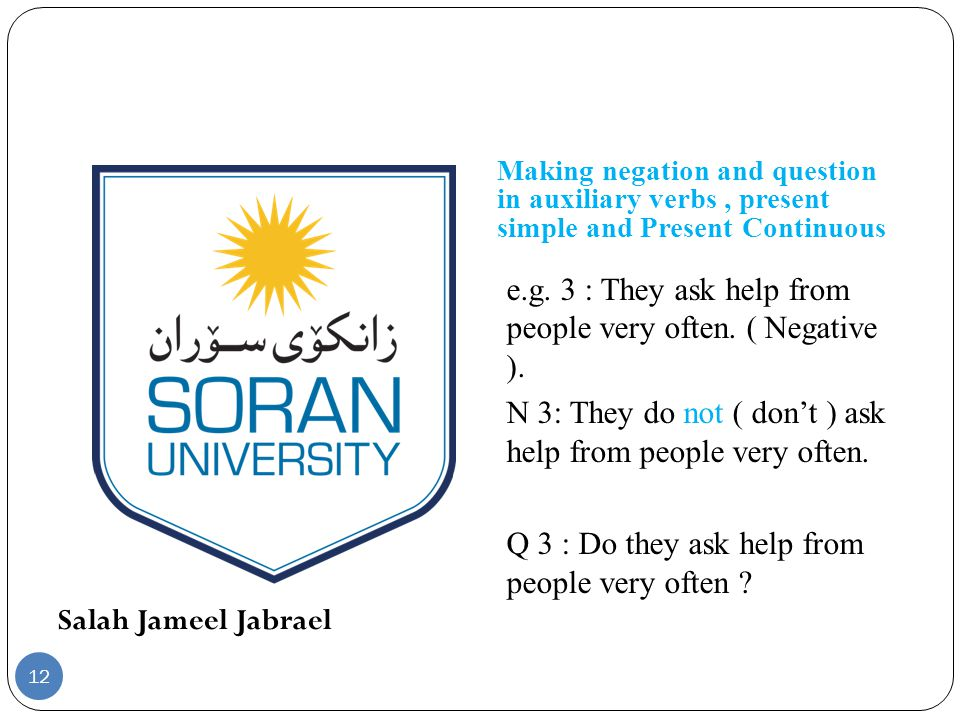 Salah Jameel Jabrael Making negation and question in auxiliary verbs, present simple and Present Continuous e.g. 3 : They ask help from people very of