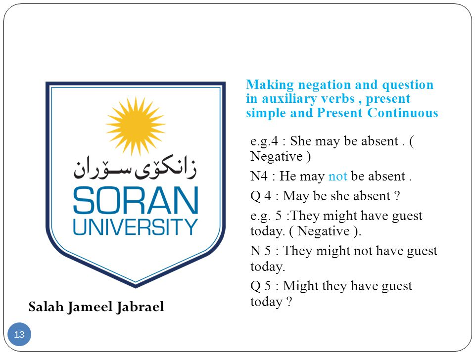 Salah Jameel Jabrael Making negation and question in auxiliary verbs, present simple and Present Continuous e.g.4 : She may be absent.