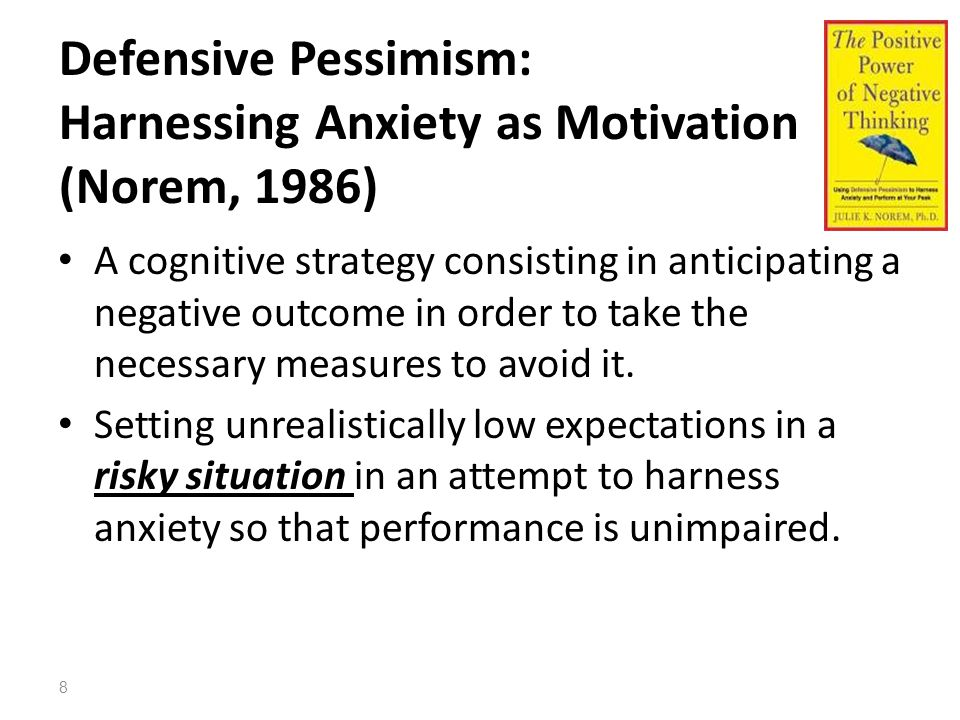 The Optimistic Bias (unrealistic/comparative optimism) Believing that they are less at risk of experiencing a negative event compared to others When asked about their own chances, people claim that they are less likely to be affected by personal risks than their peers Optimism may arise when ambiguous risk factors are presented in a biased manner 9