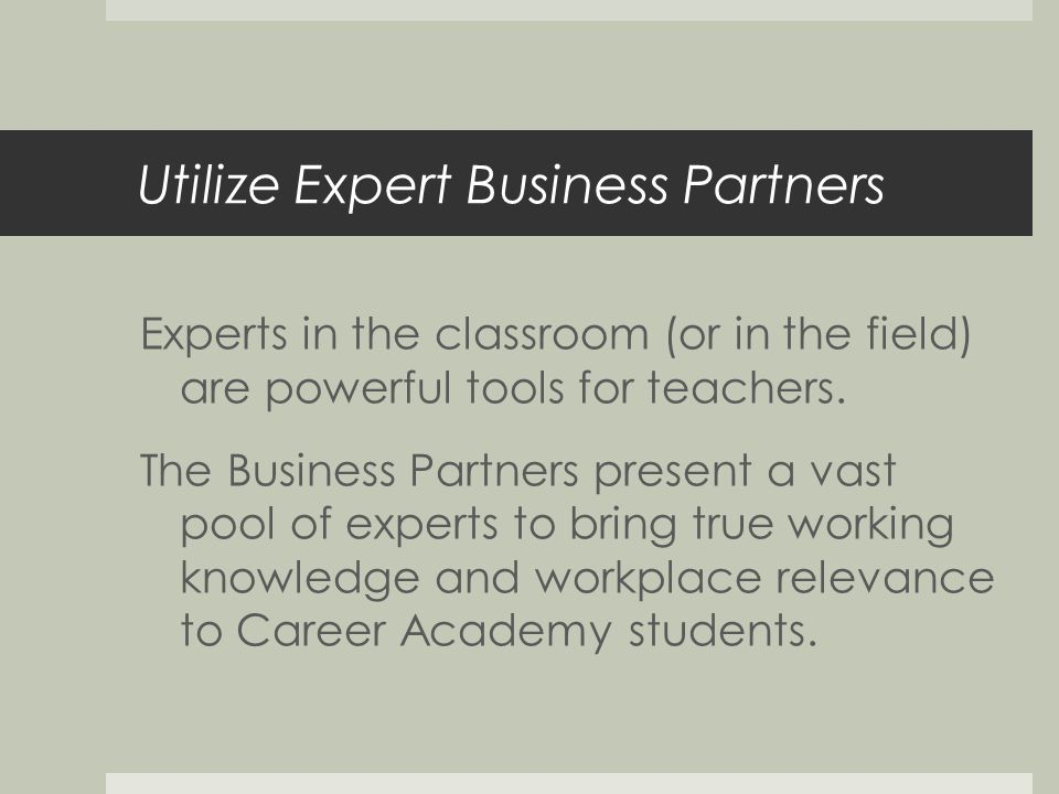 Utilize Expert Business Partners Experts in the classroom (or in the field) are powerful tools for teachers.