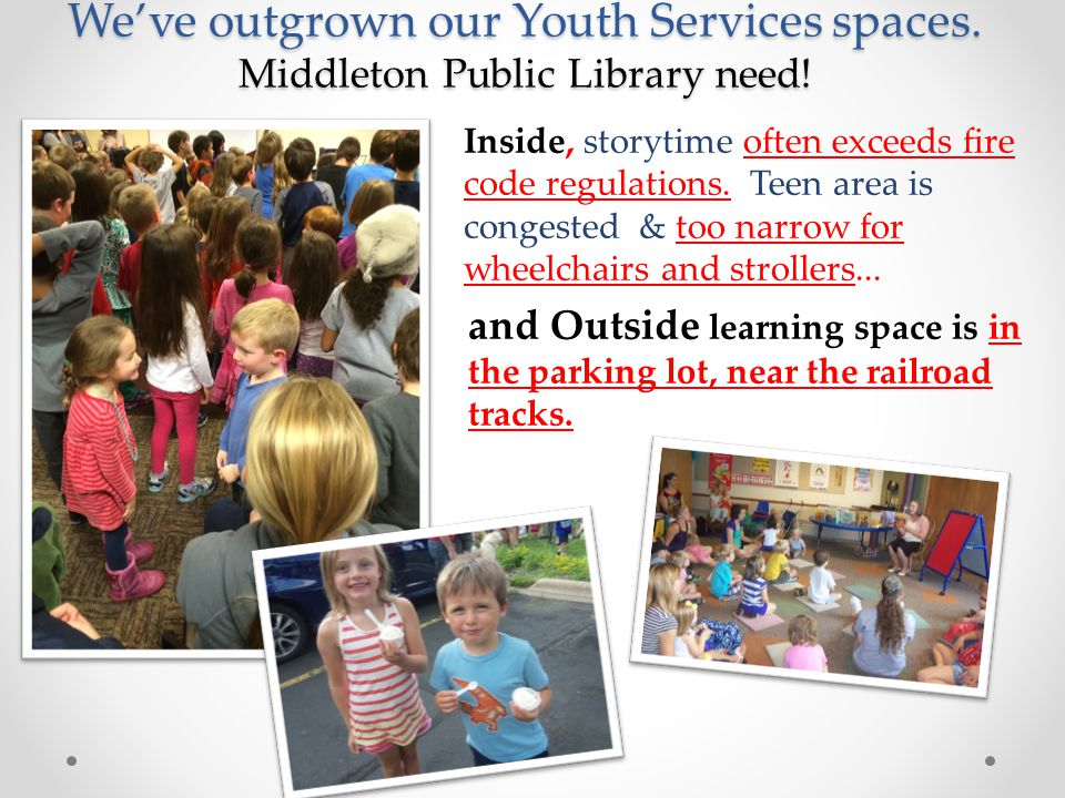 We've outgrown our Youth Services spaces. Middleton Public Library need.