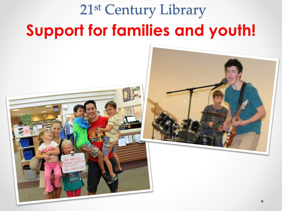 21 st Century Library Support for families and youth!