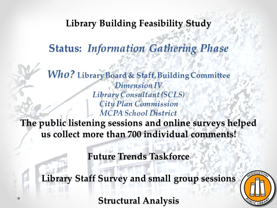 Library Building Feasibility Study Status: Information Gathering Phase Who.