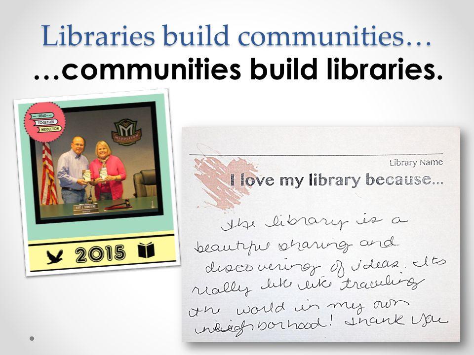 Libraries build communities… …communities build libraries.