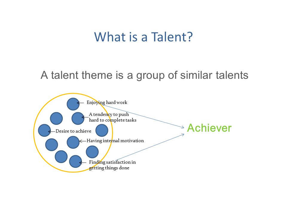 What is a Talent? A talent theme is a group of similar talents Achiever Enjoying hard work Having internal motivation Desire to achieve A tendency to
