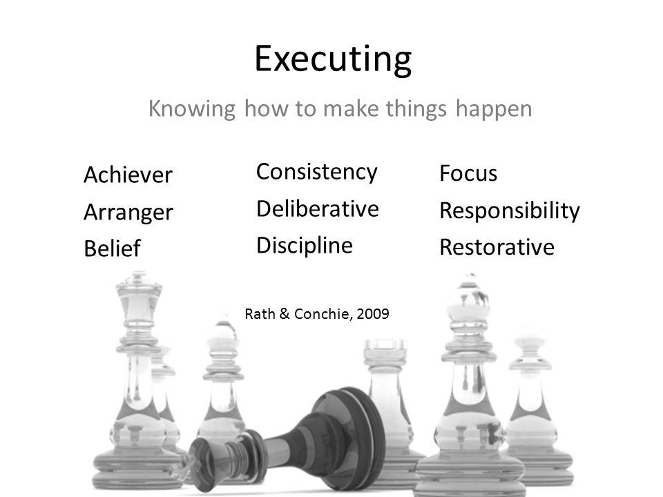 Consistency Deliberative Discipline Executing Achiever Arranger Belief Focus Responsibility Restorative Knowing how to make things happen Rath & Conchie, 2009