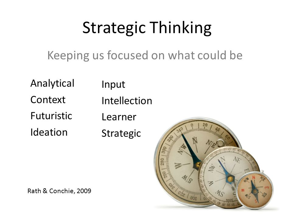 Strategic Thinking Analytical Context Futuristic Ideation Keeping us focused on what could be Rath & Conchie, 2009 Input Intellection Learner Strategi