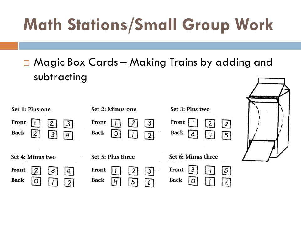 Math Stations/Small Group Work  Magic Box Cards – Making Trains by adding and subtracting