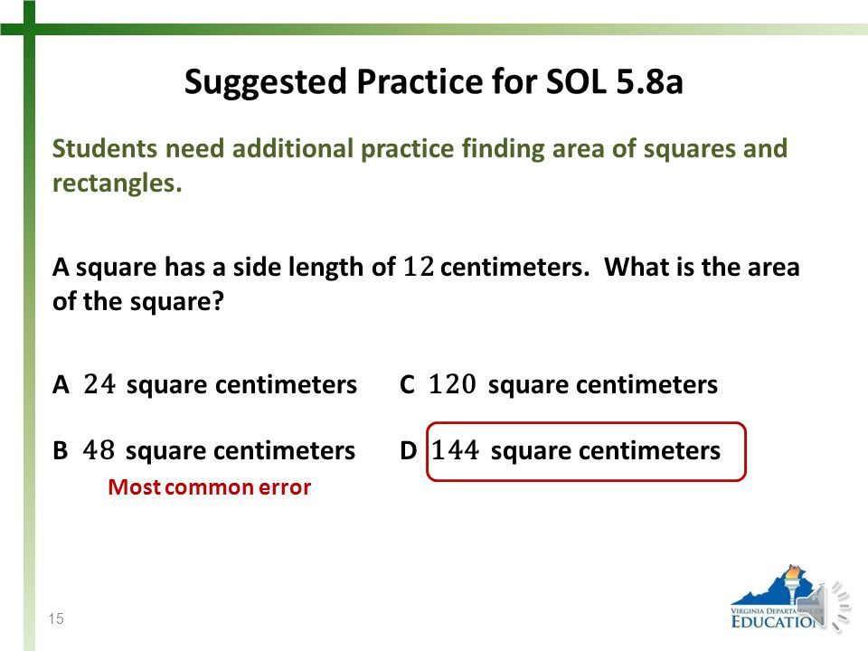 SOL 5.8 The student will a)find perimeter, area, and volume in standard units of measure; b)differentiate among perimeter, area, and volume and identify whether the application of the concept of perimeter, area, or volume is appropriate for a given situation; c)identify equivalent measurements within the metric system; d)estimate and then measure to solve problems, using U.S.