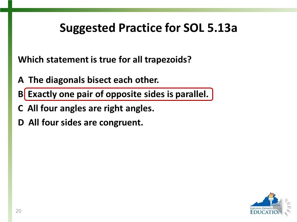 Suggested Practice for SOL 5.13a Students need additional practice identifying the similarities among and differences between squares, rectangles, par