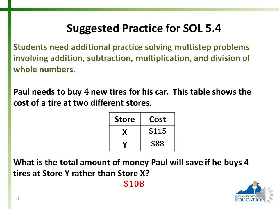 SOL 5.4 The student will create and solve single-step and multistep practical problems involving addition, subtraction, multiplication, and division with and without remainders of whole numbers.