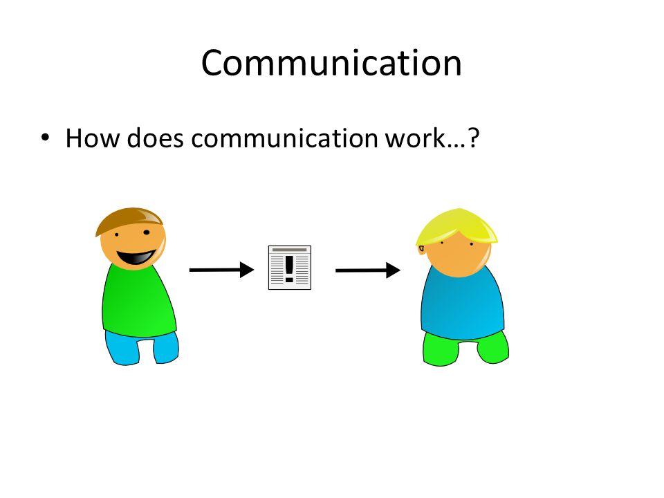 Communication How does communication work…?
