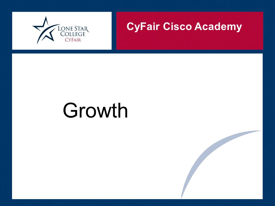 CyFair Cisco Academy  The instructors provide real world experience in the lectures  Instructors provide real world application in the labs or projects they have the students do  Ex: build a network to meet company requirements  Solve the random problems that appear  Open labs are offered to alumni to prepare for certification tests  Certification prep classes for CCNA students Retention