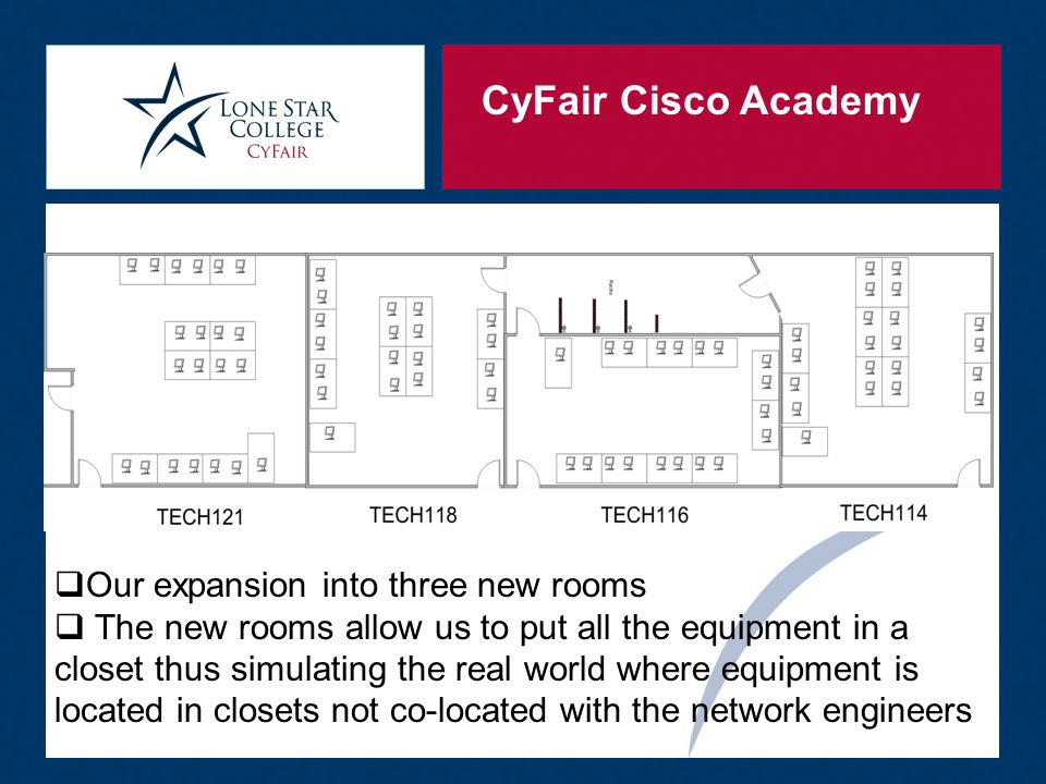CyFair Cisco Academy  Our expansion into three new rooms  The new rooms allow us to put all the equipment in a closet thus simulating the real world where equipment is located in closets not co-located with the network engineers