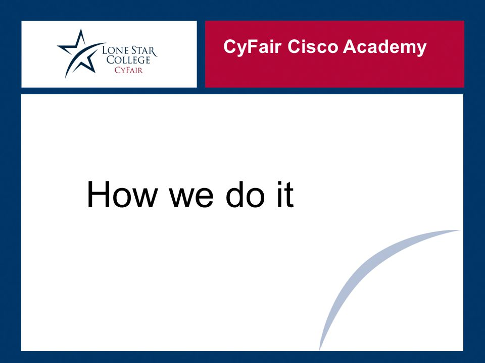 CyFair Cisco Academy We recognize that without students there would not be an Academy.