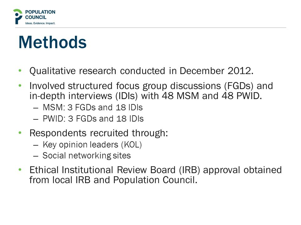 Methods Qualitative research conducted in December 2012.