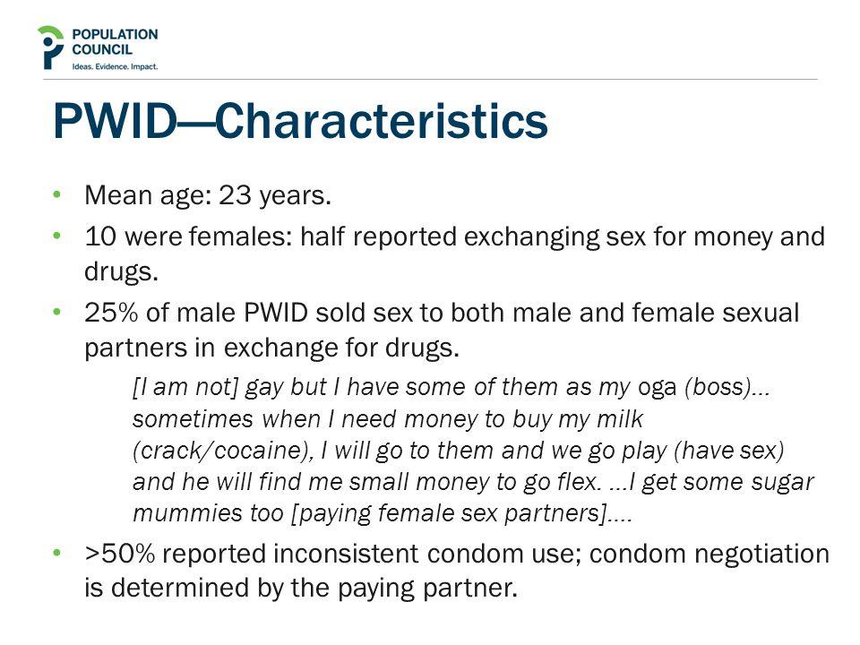PWID—Characteristics Mean age: 23 years.