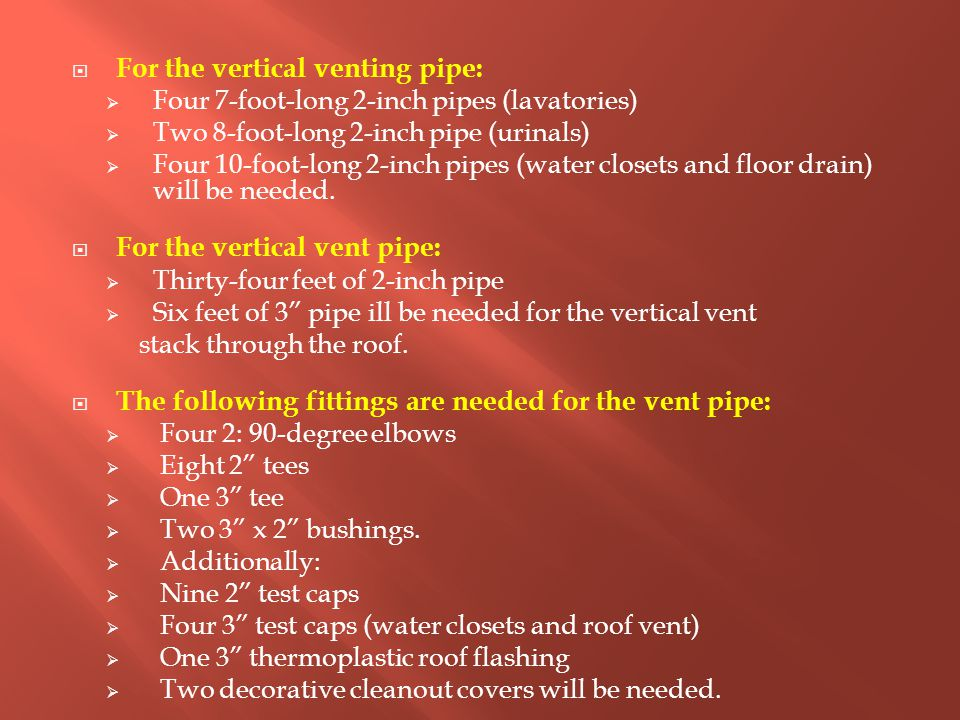  For the vertical venting pipe:  Four 7-foot-long 2-inch pipes (lavatories)  Two 8-foot-long 2-inch pipe (urinals)  Four 10-foot-long 2-inch pipes