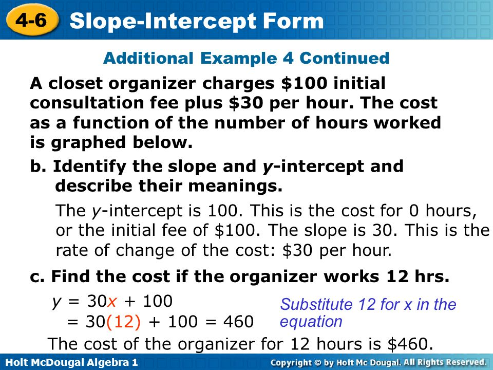 Holt McDougal Algebra 1 4-6 Slope-Intercept Form Additional Example 4 Continued A closet organizer charges $100 initial consultation fee plus $30 per