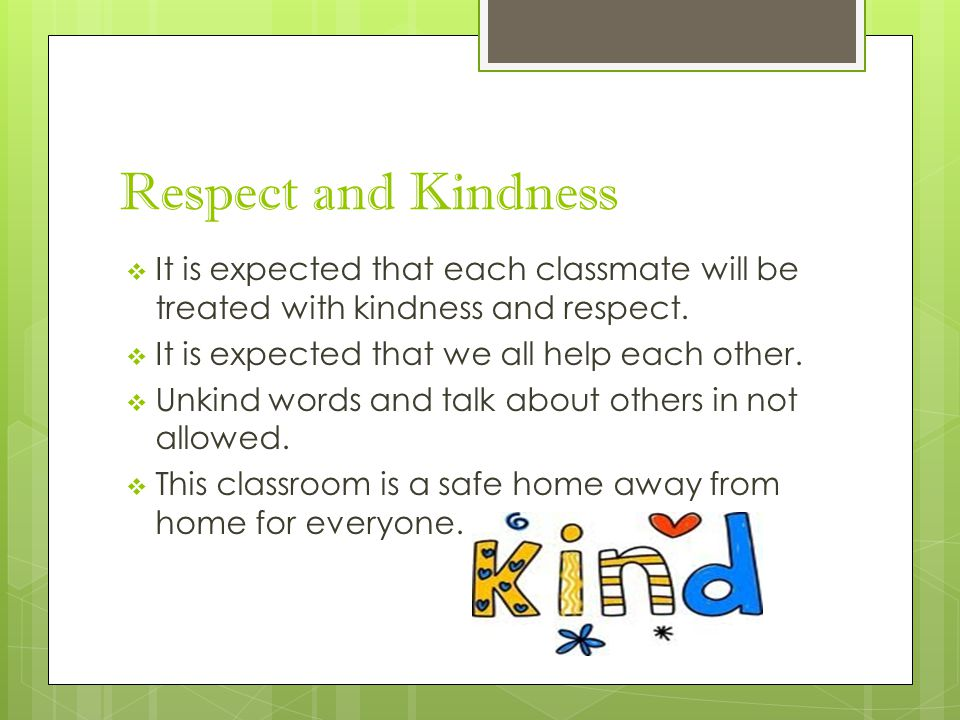 Respect and Kindness  It is expected that each classmate will be treated with kindness and respect.  It is expected that we all help each other.  U