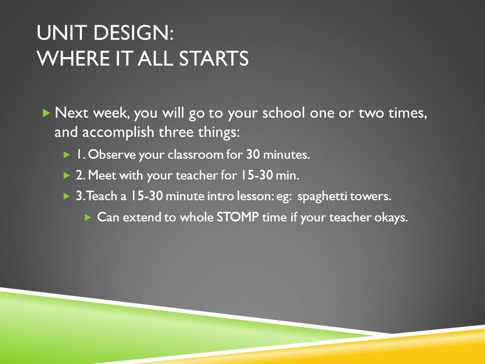 UNIT DESIGN: WHERE IT ALL STARTS  Next week, you will go to your school one or two times, and accomplish three things:  1.