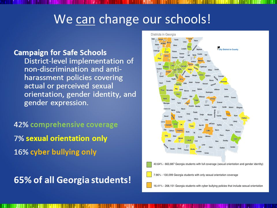 We can change our schools! Campaign for Safe Schools District-level implementation of non-discrimination and anti- harassment policies covering actual