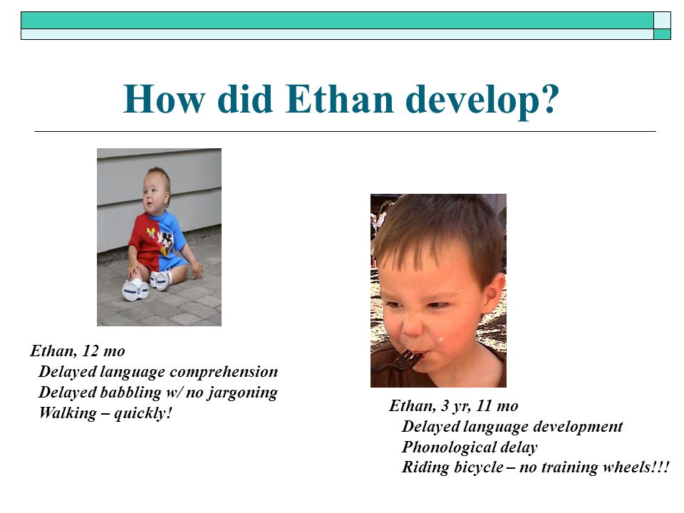 How did Ethan develop? Ethan, 12 mo Delayed language comprehension Delayed babbling w/ no jargoning Walking – quickly! Ethan, 3 yr, 11 mo Delayed lang
