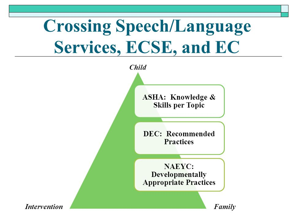 Crossing Speech/Language Services, ECSE, and EC ASHA: Knowledge & Skills per Topic DEC: Recommended Practices NAEYC: Developmentally Appropriate Pract