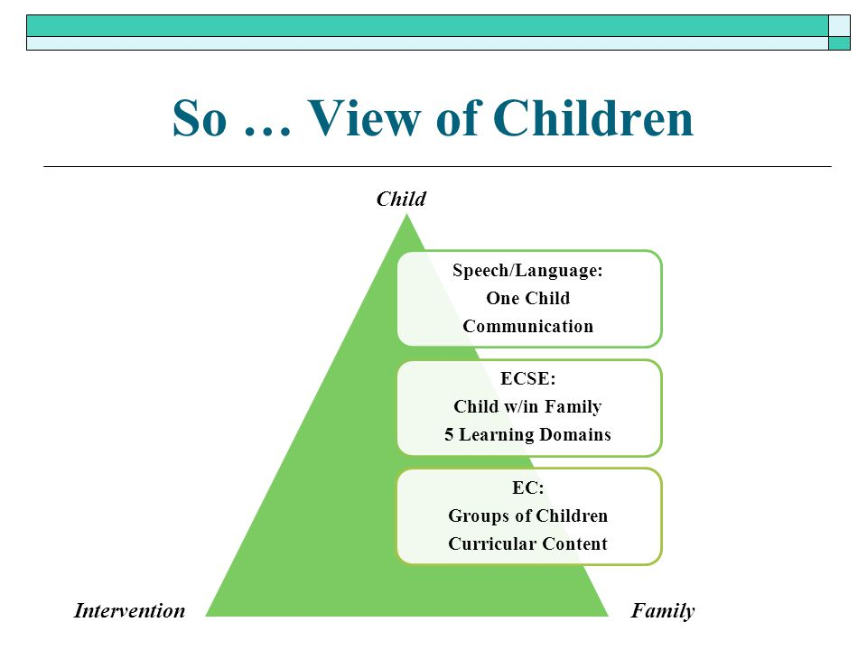 So … View of Children Speech/Language: One Child Communication ECSE: Child w/in Family 5 Learning Domains EC: Groups of Children Curricular Content Ch