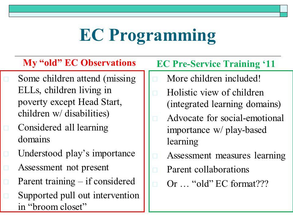 "EC Programming My ""old"" EC Observations  Some children attend (missing ELLs, children living in poverty except Head Start, children w/ disabilities)"