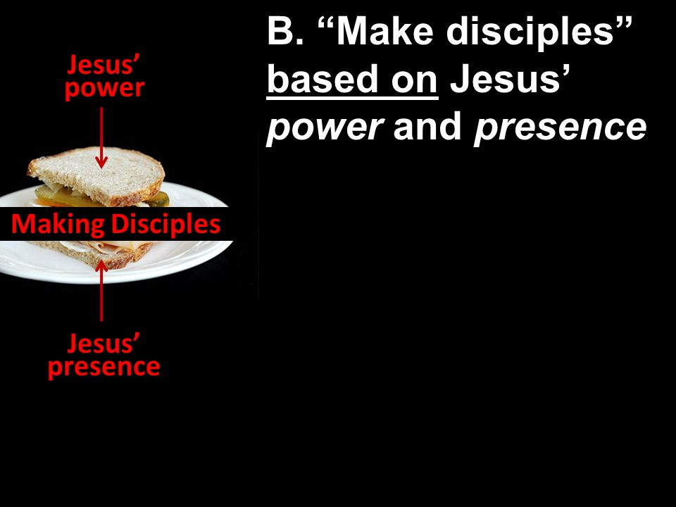Jesus' power Jesus' presence Making Disciples B.