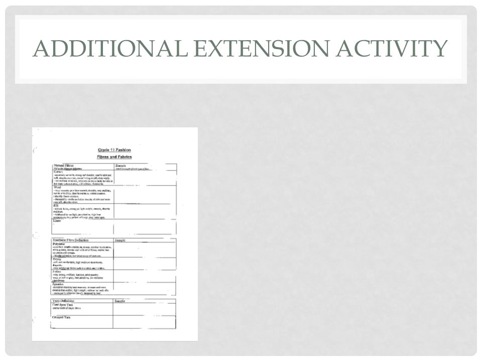 ADDITIONAL EXTENSION ACTIVITY
