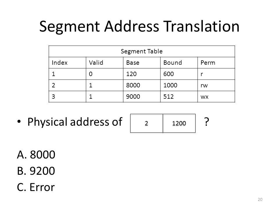 Segment Address Translation Physical address of ? A. 8000 B. 9200 C. Error 20 Segment Table IndexValidBaseBoundPerm 10120600r 2180001000rw 319000512wx