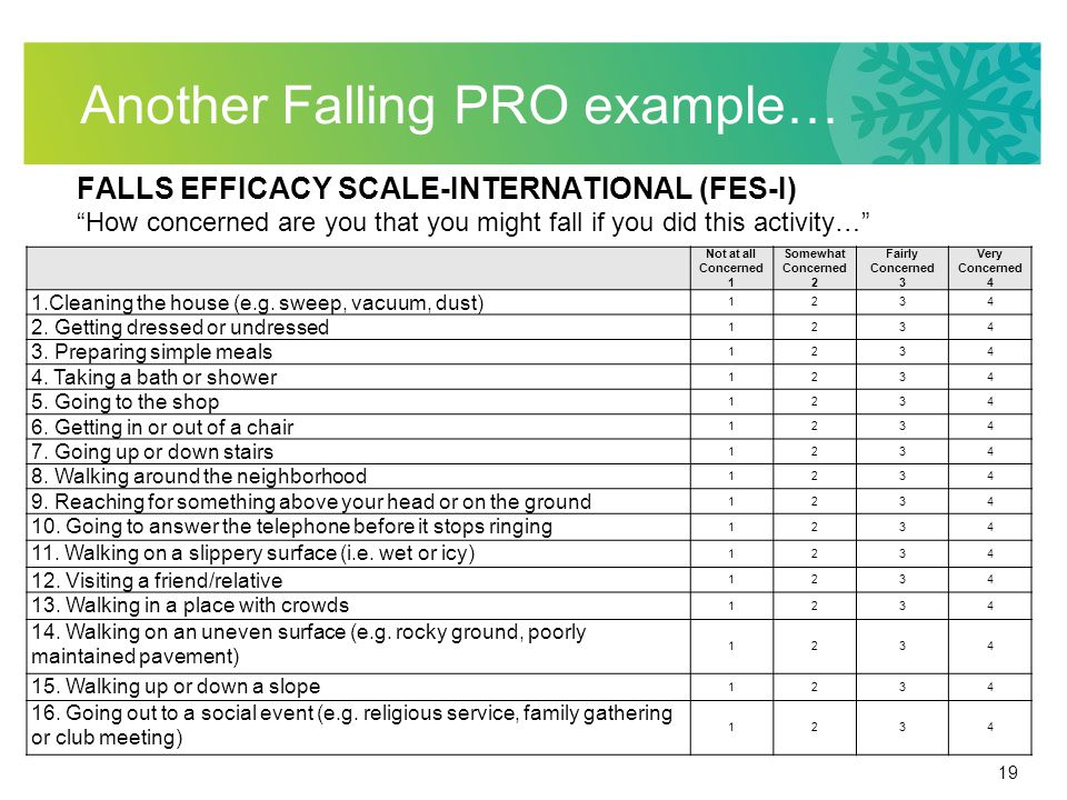 19 Another Falling PRO example… FALLS EFFICACY SCALE-INTERNATIONAL (FES-I) How concerned are you that you might fall if you did this activity… Not at all Concerned 1 Somewhat Concerned 2 Fairly Concerned 3 Very Concerned 4 1.Cleaning the house (e.g.