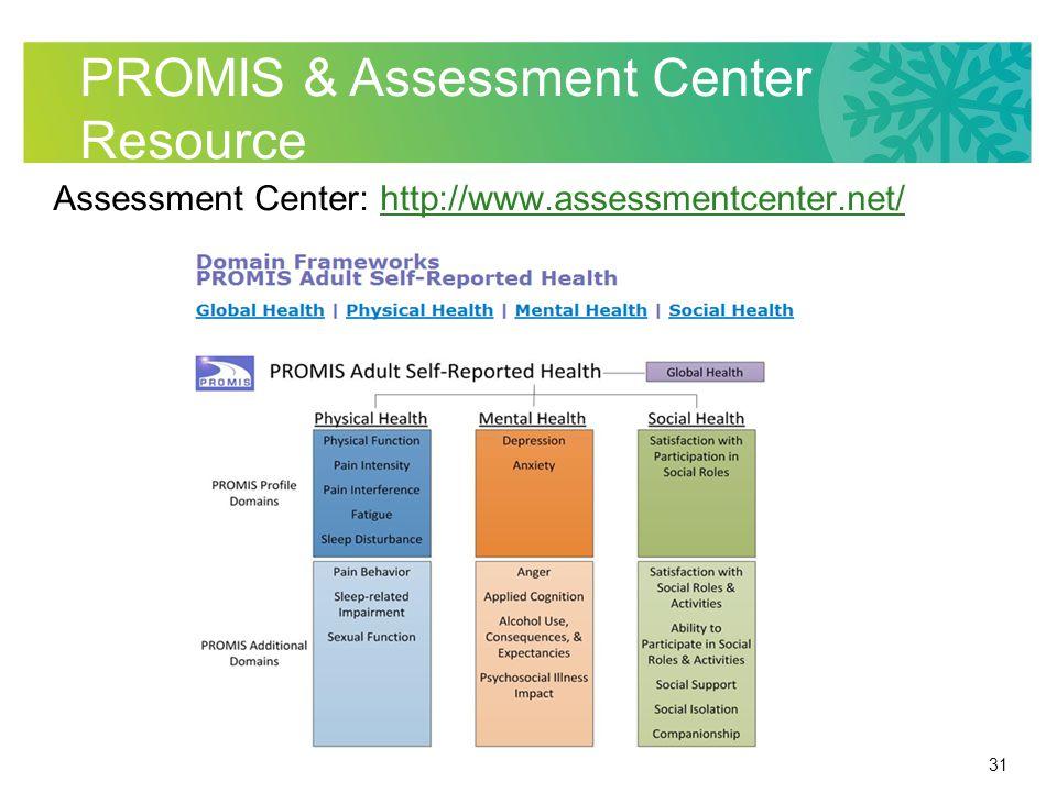 31 PROMIS & Assessment Center Resource Assessment Center: http://www.assessmentcenter.net/http://www.assessmentcenter.net/