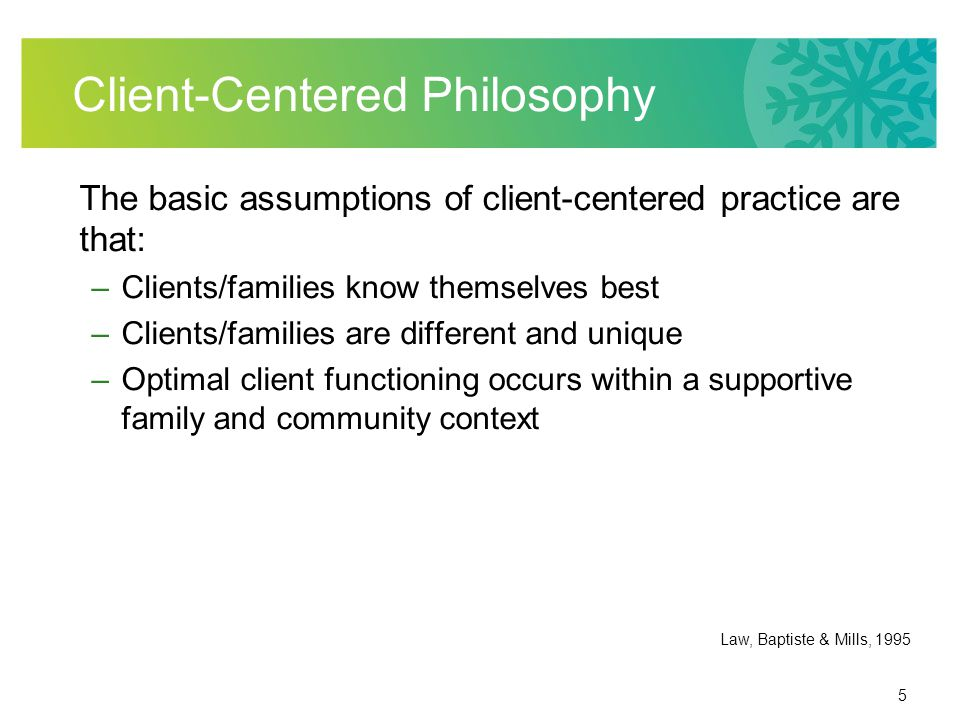 6 Why a Client-Centered Philosophy.