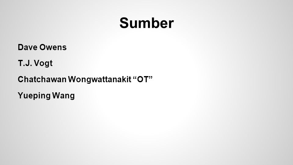 Sumber Dave Owens T.J. Vogt Chatchawan Wongwattanakit OT Yueping Wang