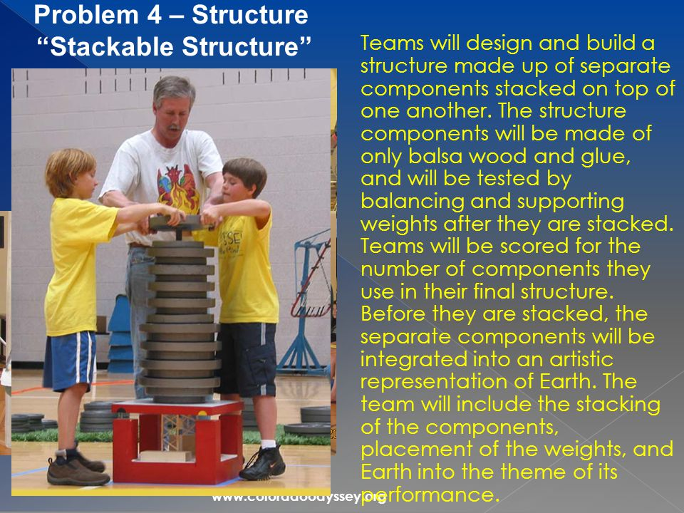 www.coloradoodyssey.org Teams will design and build a structure made up of separate components stacked on top of one another.