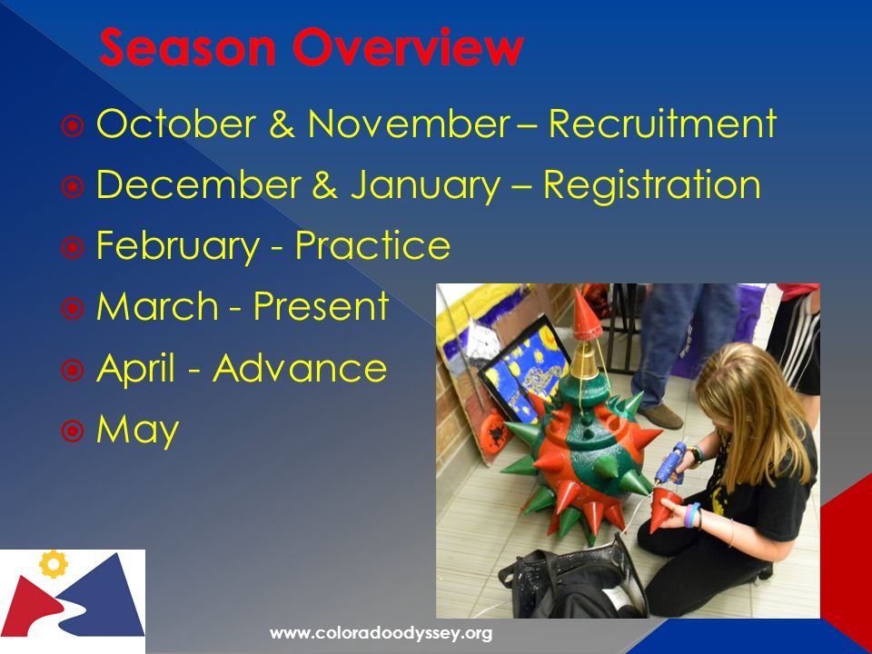 www.coloradoodyssey.org  October & November – Recruitment  December & January – Registration  February - Practice  March - Present  April - Advance  May