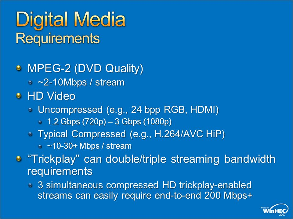 MPEG-2 (DVD Quality) ~2-10Mbps / stream HD Video Uncompressed (e.g., 24 bpp RGB, HDMI) 1.2 Gbps (720p) – 3 Gbps (1080p) Typical Compressed (e.g., H.264/AVC HiP) ~10-30+ Mbps / stream Trickplay can double/triple streaming bandwidth requirements 3 simultaneous compressed HD trickplay-enabled streams can easily require end-to-end 200 Mbps+