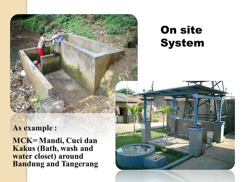 As example : MCK= Mandi, Cuci dan Kakus (Bath, wash and water closet) around Bandung and Tangerang On site System