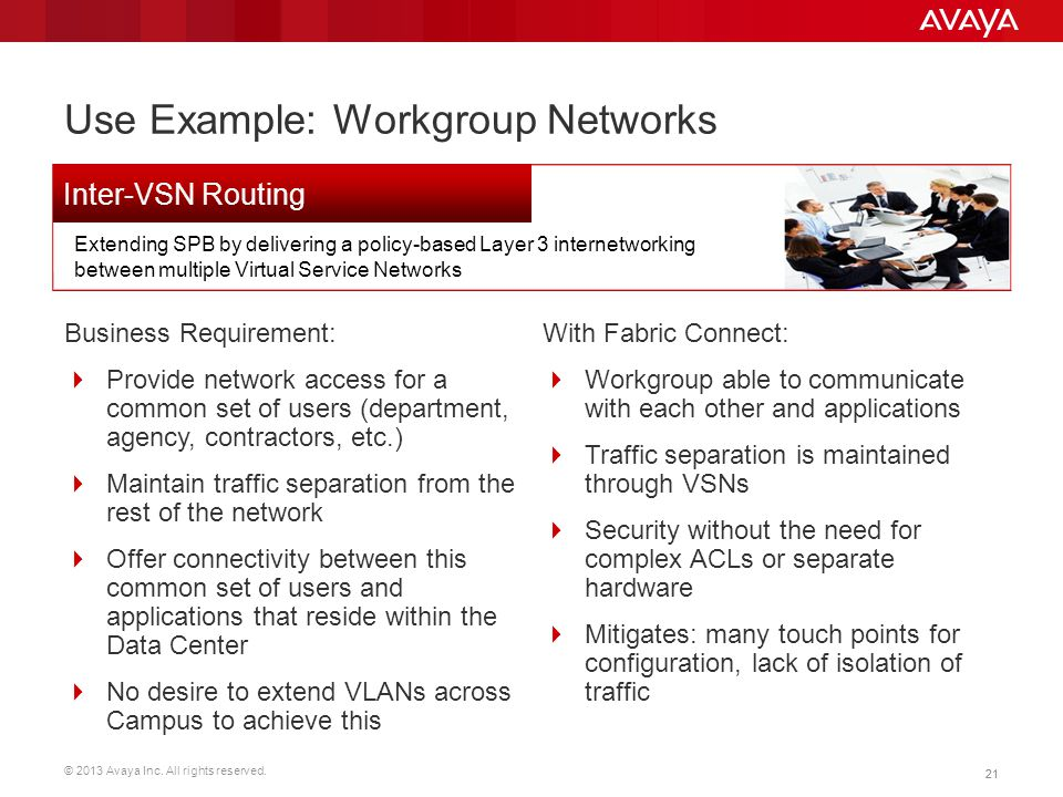 © 2013 Avaya Inc. All rights reserved. 21 Use Example: Workgroup Networks Business Requirement:  Provide network access for a common set of users (de