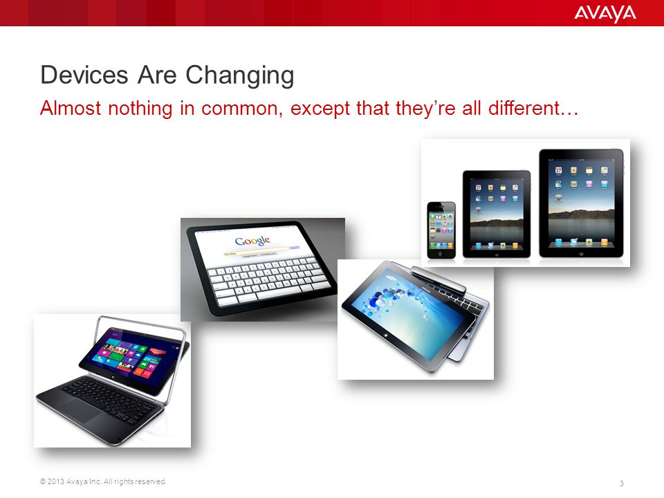 © 2013 Avaya Inc. All rights reserved. 3 Devices Are Changing Almost nothing in common, except that they're all different…