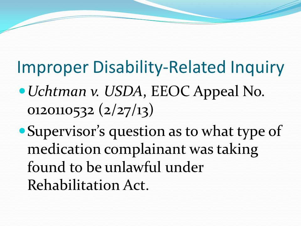 Improper Disability-Related Inquiry Uchtman v. USDA, EEOC Appeal No.