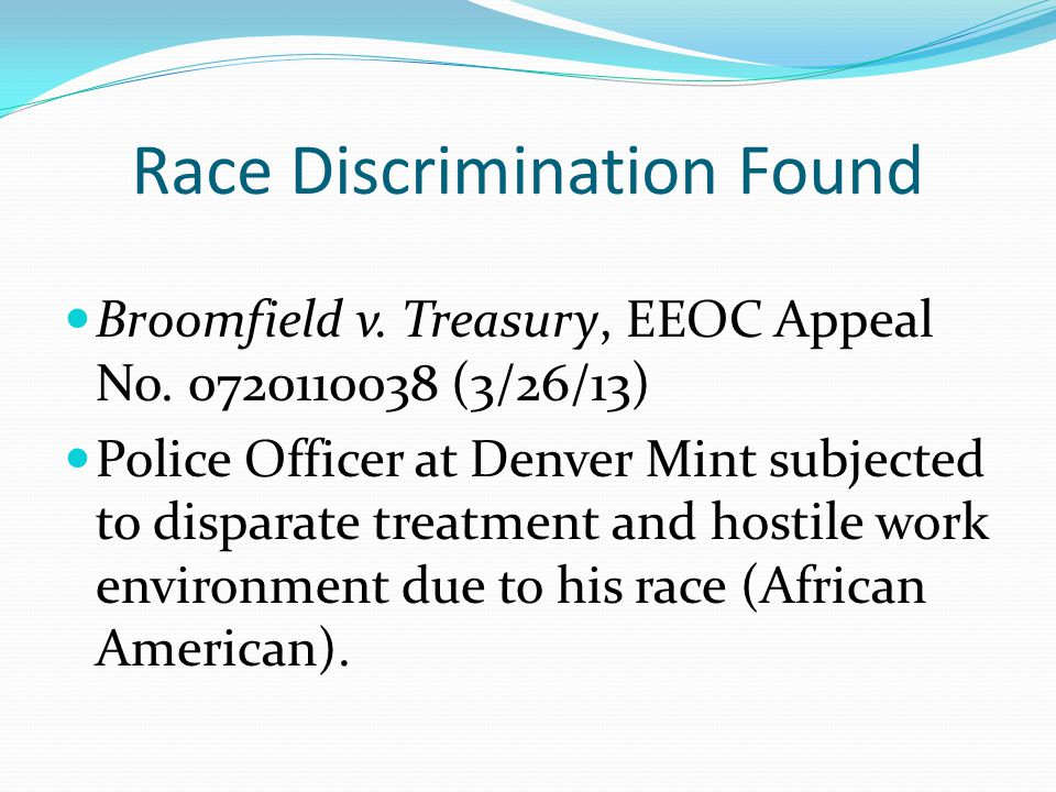 Race Discrimination Found Broomfield v. Treasury, EEOC Appeal No.