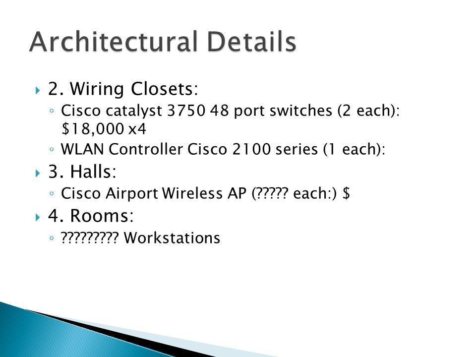  2. Wiring Closets: ◦ Cisco catalyst 3750 48 port switches (2 each): $18,000 x4 ◦ WLAN Controller Cisco 2100 series (1 each):  3. Halls: ◦ Cisco Air