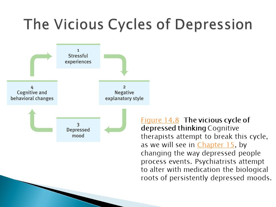 Figure 14.8Figure 14.8 The vicious cycle of depressed thinking Cognitive therapists attempt to break this cycle, as we will see in Chapter 15, by changing the way depressed people process events.