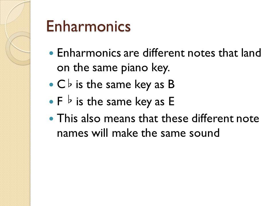 Enharmonics Enharmonics are different notes that land on the same piano key.