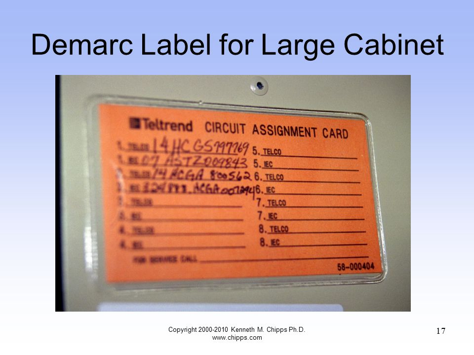 Demarc Label for Large Cabinet Copyright 2000-2010 Kenneth M. Chipps Ph.D. www.chipps.com 17